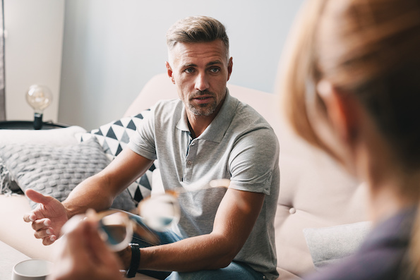 Man in a counselling therapy session